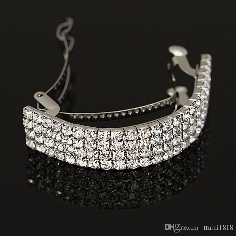 2017 NEW Girls Fashion Chic Crystal Rhinestone Moon Hair Clip Bang Clip Hair pins Hearwear Silver wedding hair accessories #H001