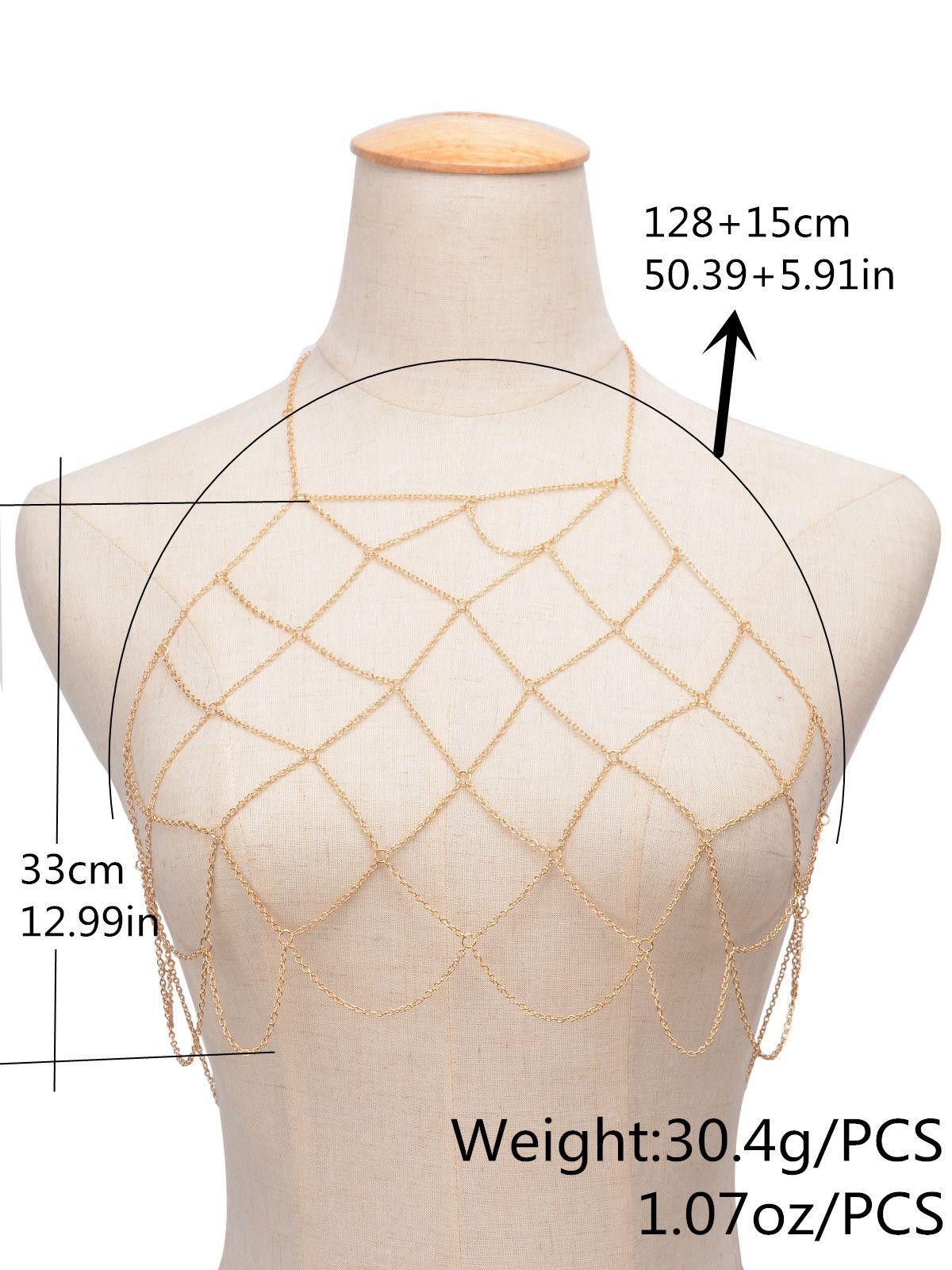 Fashion Women Gold Color Net Grid Tassel Harness Necklace Body Jewelry Sexy Bikini Belly Waist Metal alloy Bra Chain Body Chain