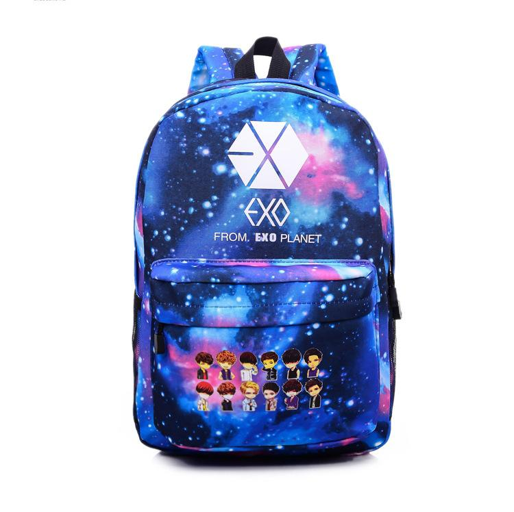 2017 Korean K POP Galaxy Blue Backpacks BTS Bags EXO GOT7 VIXX Canvas Printing Backpack School ...