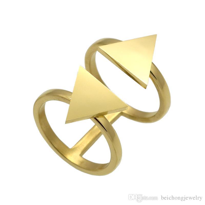 Beichong Klasik Çift Büyük Üçgen Açık Paslanmaz Çelik Yüzük Kadınlar için Gümüş / Altın Renk Parti Yüzük Takı Anillos Mujer