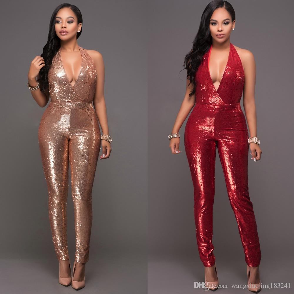 8cb683439a46 2019 Sexy Golden Sleeveless Halter Sequin Jumpsuit Sparkly Strapless V Neck  Skinny Bodycon Long Rompers Pants Backless Party Playsuits From ...