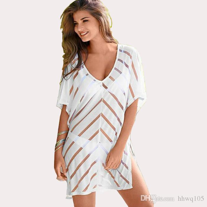 4a6e54a17e51a 2019 Western Women White Striped Cover Ups Tunic Swimwear Deep V Neck Tie  Side Mini Beach Dress Sexy Transparent Beachwear Club Dresses ZZNF0713 From  ...
