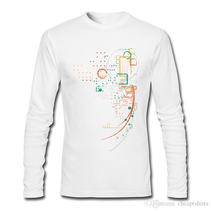 Mann langärmeliges T-Shirt Neuheit Muster gedruckt Herren T-Shirts haltbar feines Baumwolle T-Shirt für Jungen Punkt und Linie Kunst Stadt Grid