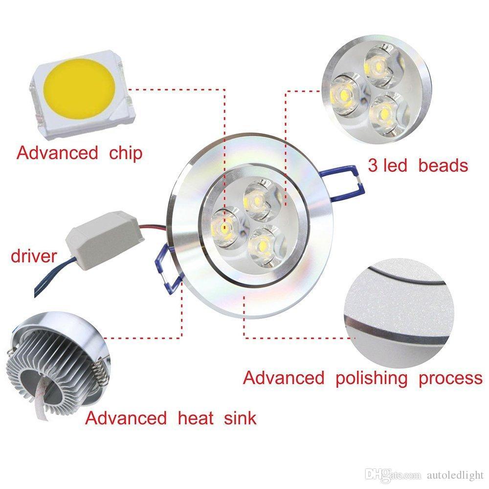 LED Ceiling Light Downlight spotlights 3W lamp AC85-265V Aluminum Heat Sink convenience