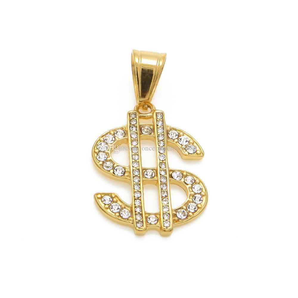 18k Gold Plated Hip Hop Bling Bling Dollar Sign Gold Chain Dollar With Rhinestone Pendant Necklace Jewelry