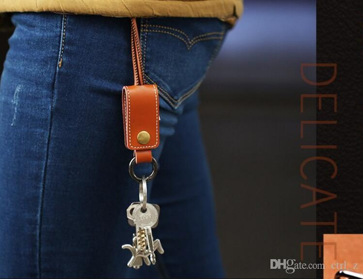 Leder Lanyard Metall Keychain 2A USB schnelles Ladegerät Datenkabel für Samsung S7 S8 android Telefon