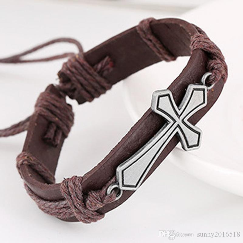 New Weaven Charm Bracelets for Men Vintage Alloy Cross Charm Leather Bracelet Bangle Multicolor Braided Rope Unisex Jewelry Wholesale