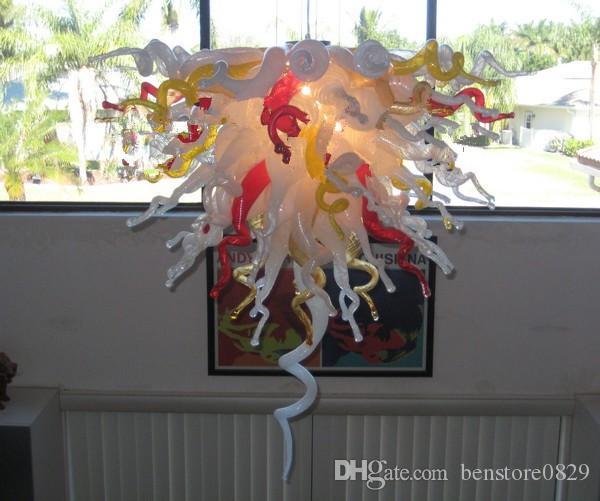 Art déco main verre soufflé de couleur lumière Lustre Hôtel Décoration design en verre Ampoules à LED Lustre de style