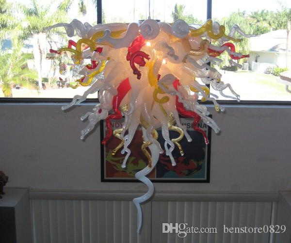 Art Deco ручного выдувное стекло Цветной Люстра Light Hotel Домашнего украшение дизайн стекло светодиодных лампы Стиль люстра