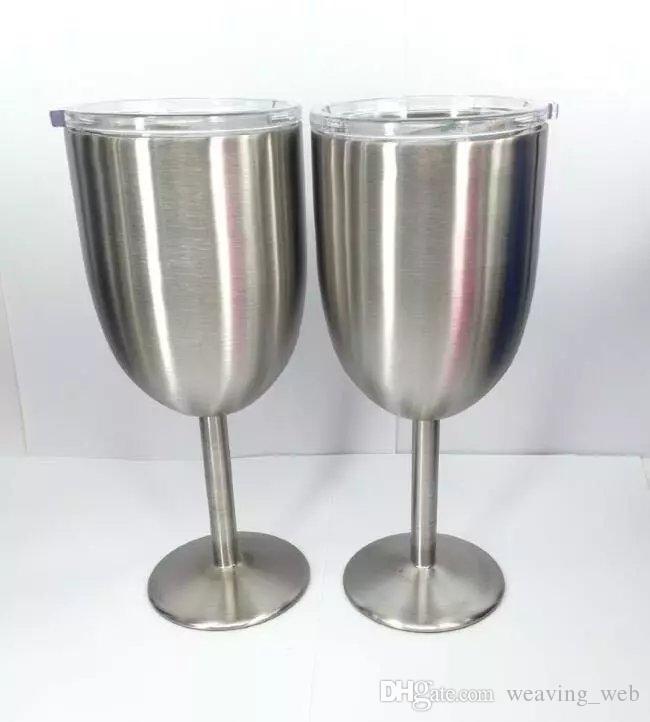 PIÙ ECONOMICO !! 10 once di vino Vetri stianless vino bicchiere acciaio calice Double Wall calice con coperchio i in azione