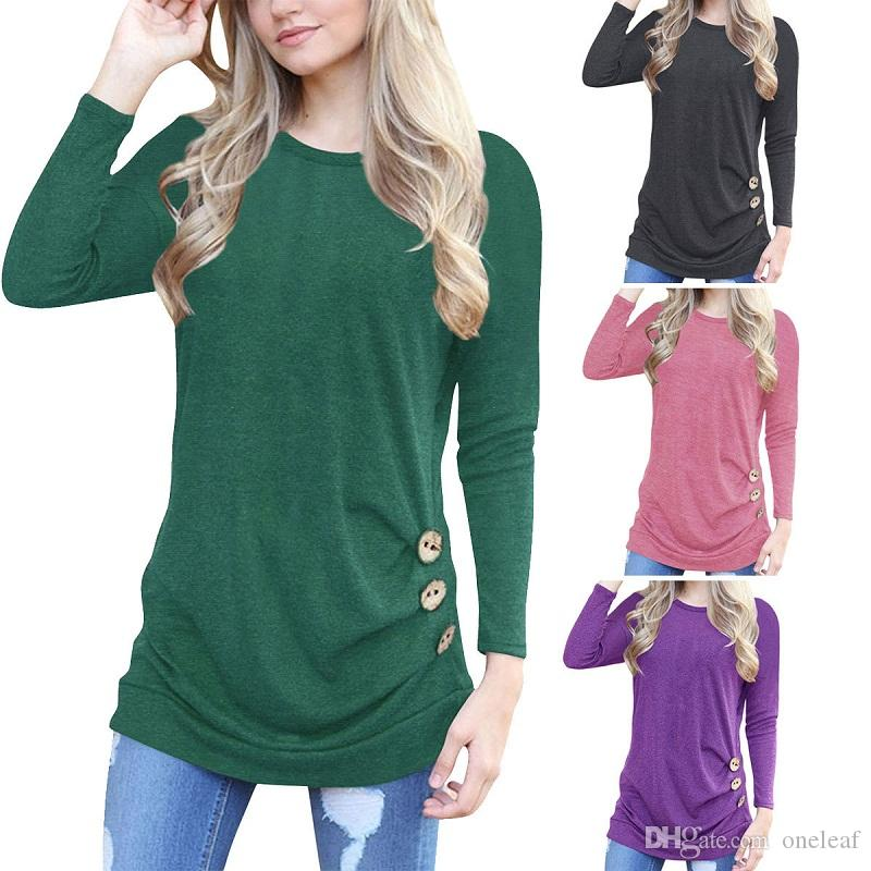 Fashion women autumn blouse lady T-shirts with buttons decoration stylish girls shirts in round neck and long sleeve 11C available OL-8689