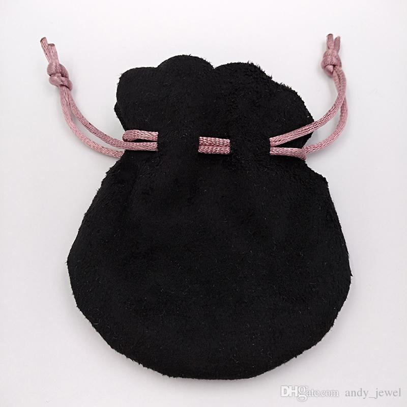 Cinta rosada Bolsas de terciopelo negro Ajuste Ajuste Europeo Pandora estilo cuentas encantos y pulseras Collares Joyería Moda Bolsas colgantes