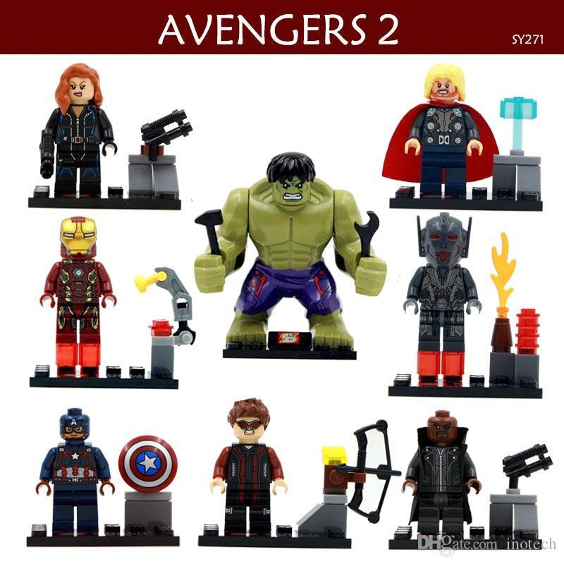 8pcs/set Action Figure Movie Avengers Super Hero Hulk Black Widow Iron Man Captain America Building Blocks Puzzle Kids Toys Gift