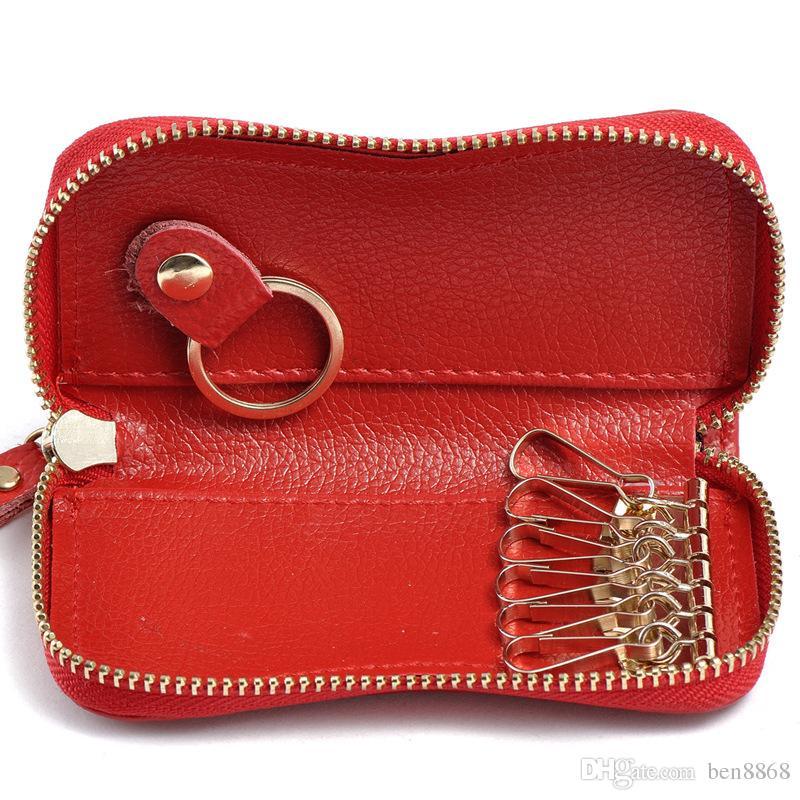 comprare popolare 856ff d2e38 2017 nuovo portachiavi portafoglio di qualità in vera pelle unisex solido  chiave portafoglio sacchetto dell organizzatore auto titolare carta  titolare ...