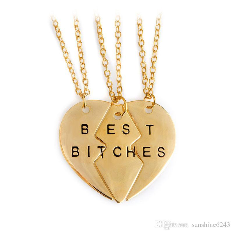 fabrika fiyatı! 5 takım / grup altın, gümüş kırık kalp en iyi sürtükler 3 parçaları kolye kolye arkadaşlar için en iyi hediye
