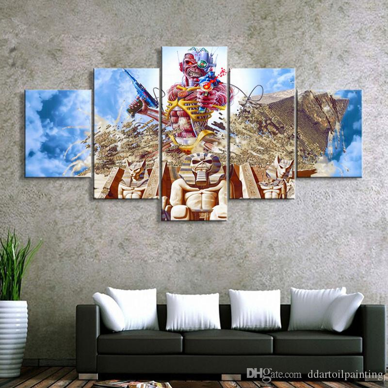 "Iron Maiden LARGE 60""x32"" 5 Panels Art Canvas Print Iron Maiden Band Poster Rock Music Wall home Decor interior No Frame"