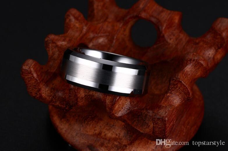 Envío gratis 8 mm ventas al por mayor cepillado centro bordes biselados carburo de tungsteno para hombre moda anillo de joyería de tungsteno EE. UU. Tamaño 4 a 17 tamaño grande