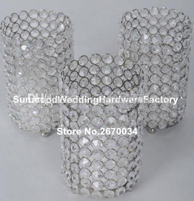 glass diamond Crystal bead candle holder for Wedding decoration
