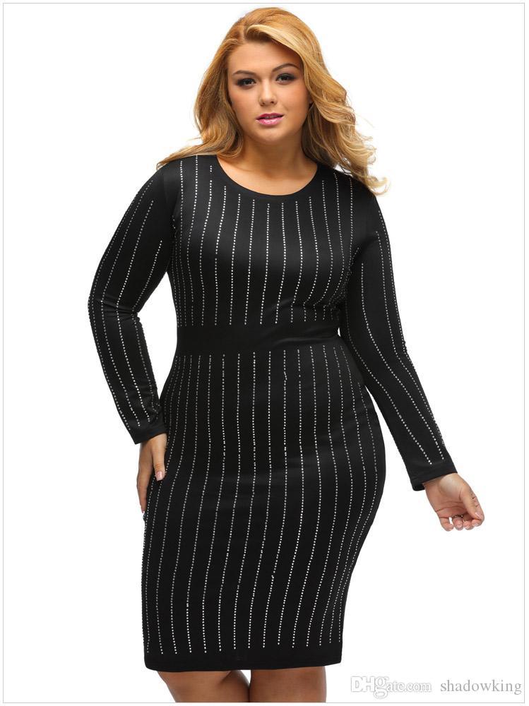 Großhandel Herbst Frauen Partei Hot Drilling Bling Langarm Kleid ...