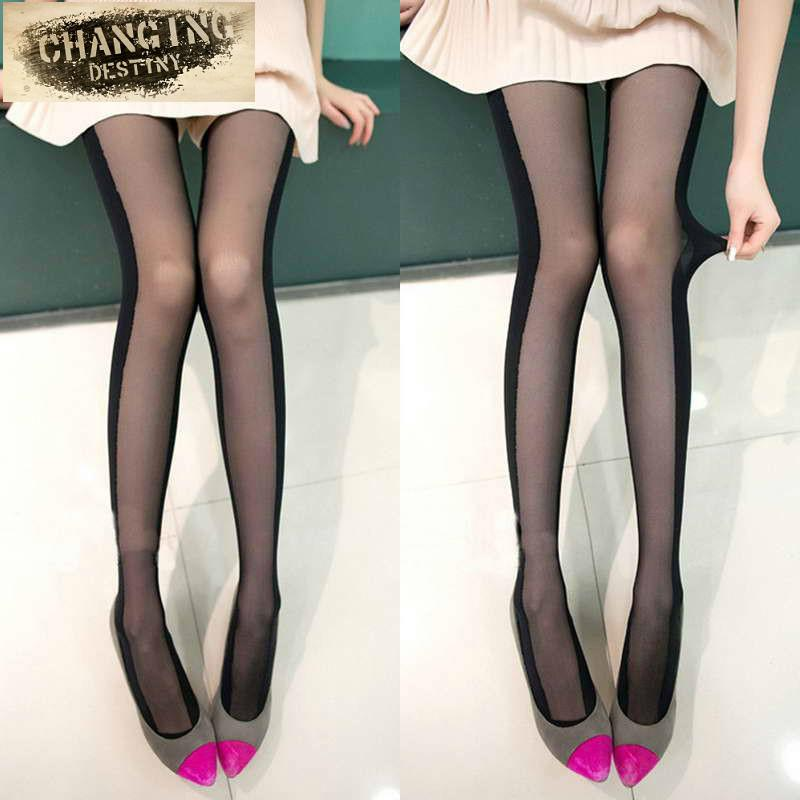 Wholesale- Hot Sale Sexy Black and White Stitching Stealth Thin Slim Tights  New Designs Women Stockings Cheap Velvet Cored Wire Pantyhose