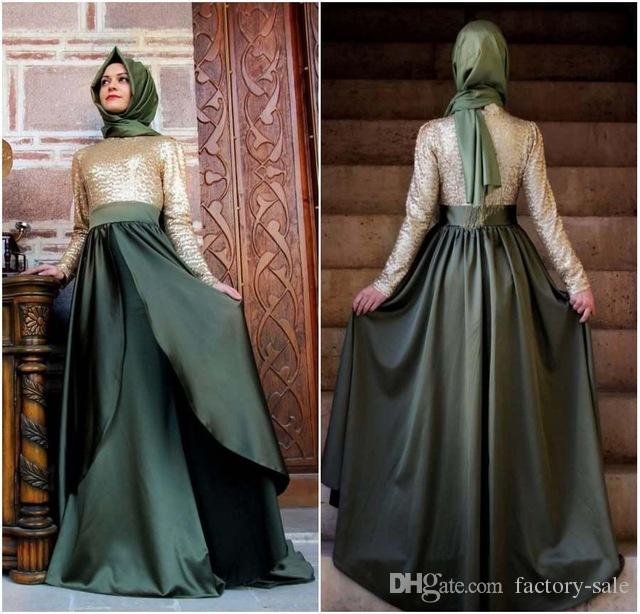 Vintage Long Sleeves High Neck Abend Abendkleider Arabisch Dubai Türkei Kaftan Muslim Islamic Dresses bodenlangen