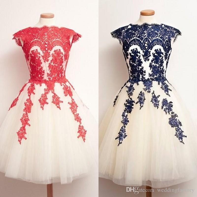 2017 Gorgeous Wedding Guest Dress Red Navy Blue Ivory White