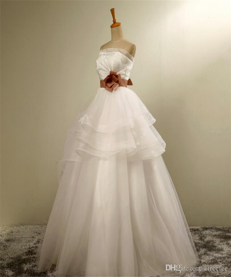 eaf7a86d031 Discount 2016 Wedding Dresses A Line Plus Size Wedding Gowns Traditional Strapless  Floor Length Princess Bridal Wear Simple Wedding Dress Petite Wedding ...