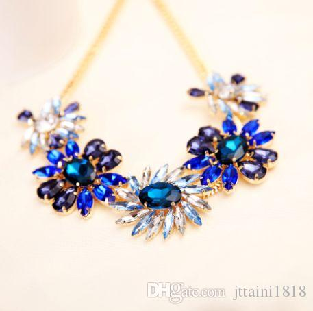 2017 TOP joyería de moda más nueva exquisita exquisita Rhinestone colgante de collar de la flor de la gema collar colgante de cadena para las mujeres # N011