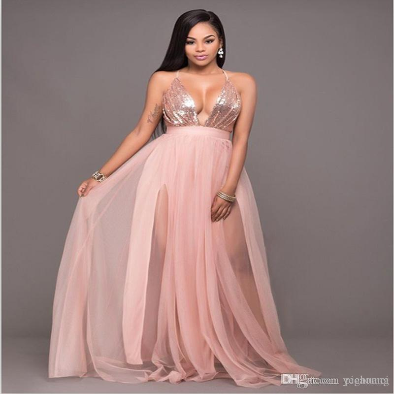 Hot Sale Sequins Sexy Dresses Summer V Neck Backless Dresses Womens ...