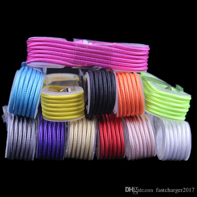Tessuto Cavi da caricabatterie intrecciati Micro Tipo C Cavo USB Samsung S6 S8 S10 HTC LG