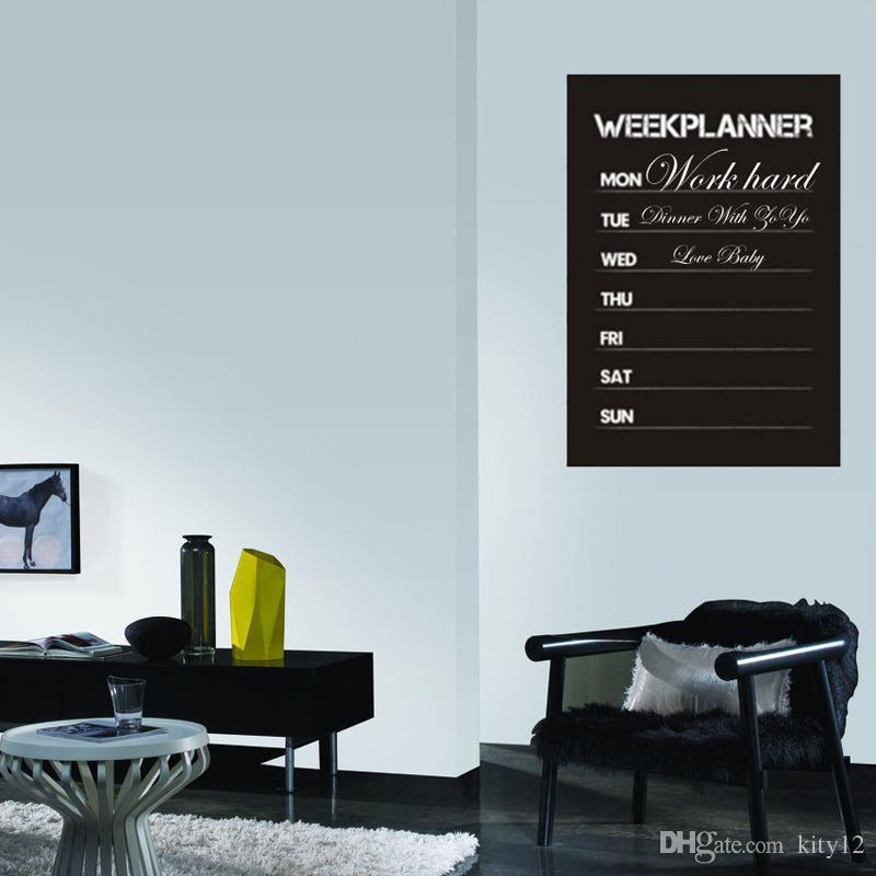 Sıcak satış Yeni Tasarım Hafta Planlayıcısı Blackboard Çıkarılabilir Vinil Duvar Sticker Kara Tahta Çıkartması Nursey ücretsiz kargo