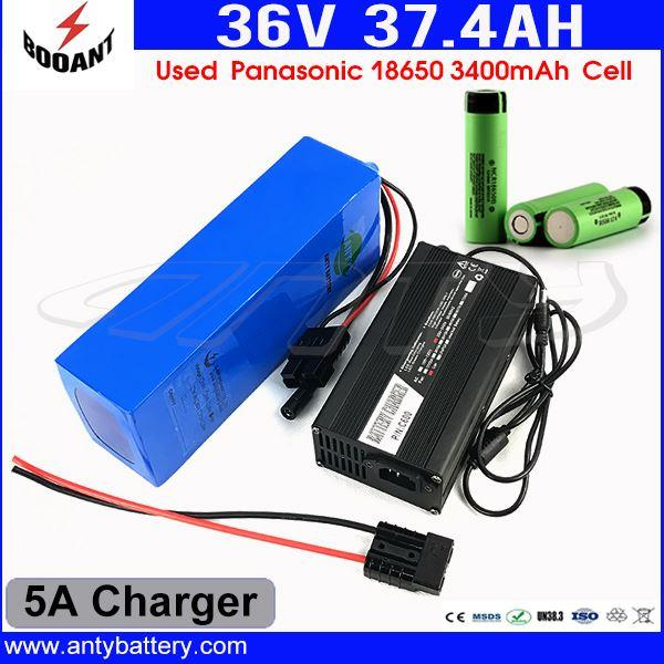 18650 Cell Scooter Lithium Battery 36V 37Ah For Bafang 1500W Motor Electric Bicycle Battery 36V With 5A Charger Free Shipping