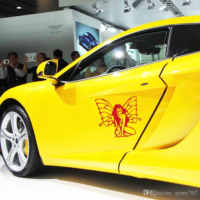2017 Hot Sale Personality Car Sticker Sexy Lady With Butterfly Wings Vinyl Reflective Waterproof Outdoor Car Decal Jdm