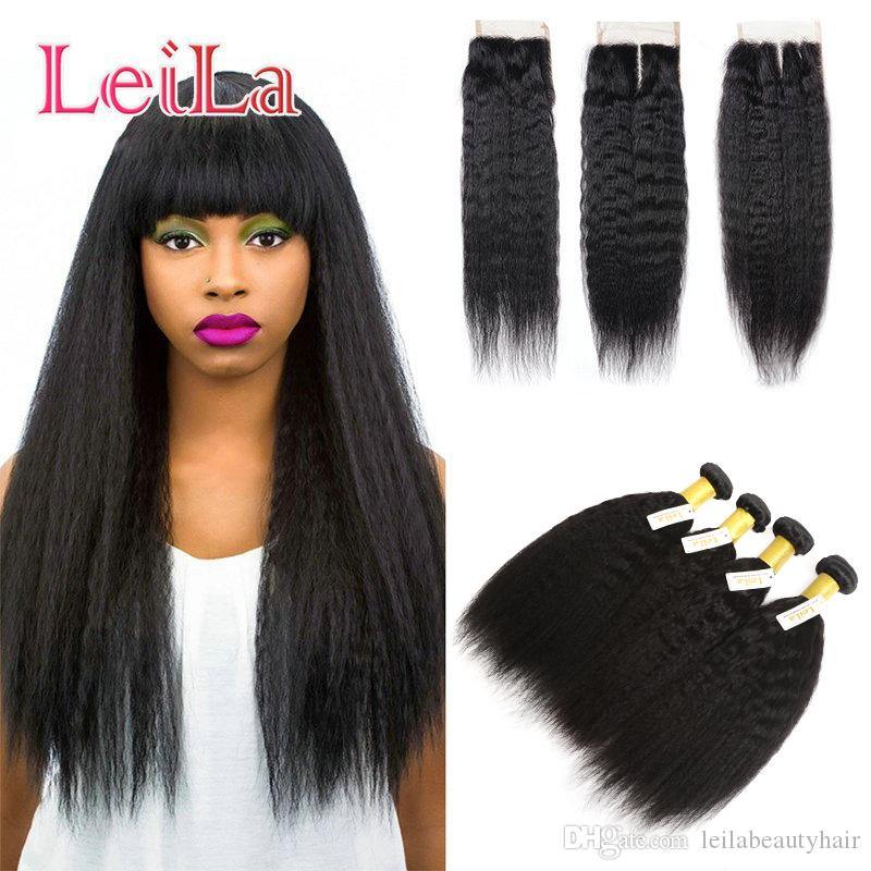 Indian Kinky Straight 4 Bundles with 4X4 Lace Closure Human Hair 5 Pieces Coarse Yaki Free Shipping