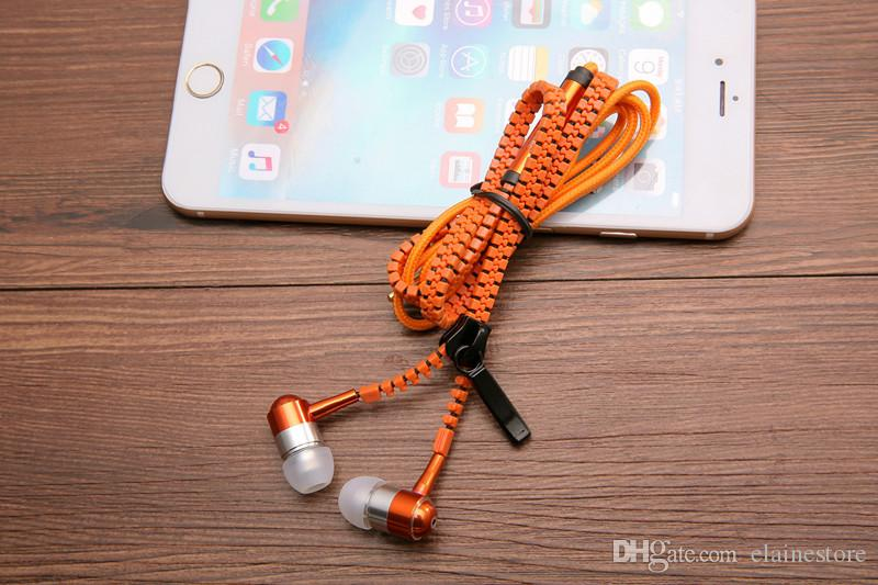 Auriculares con cremallera de metal 3.5mm auriculares con micrófono en la oreja con micrófono Auriculares estéreo bajo para teléfono móvil MP3 / 4 fone de ouvido