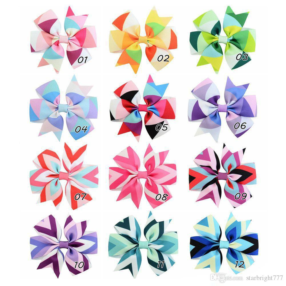 Baby girls barrettes New Wave Printed Big Children hair bows Fashion Toddler hair accessories big bows Kids hair pin Butterfly Clip
