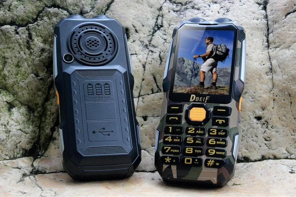 Unlocked Cheap LED Flashlight Dustproof mobile phone 13800mAh Dual sim card Torch Long Standby with PowerBank Analog TV outdoor cellPhone