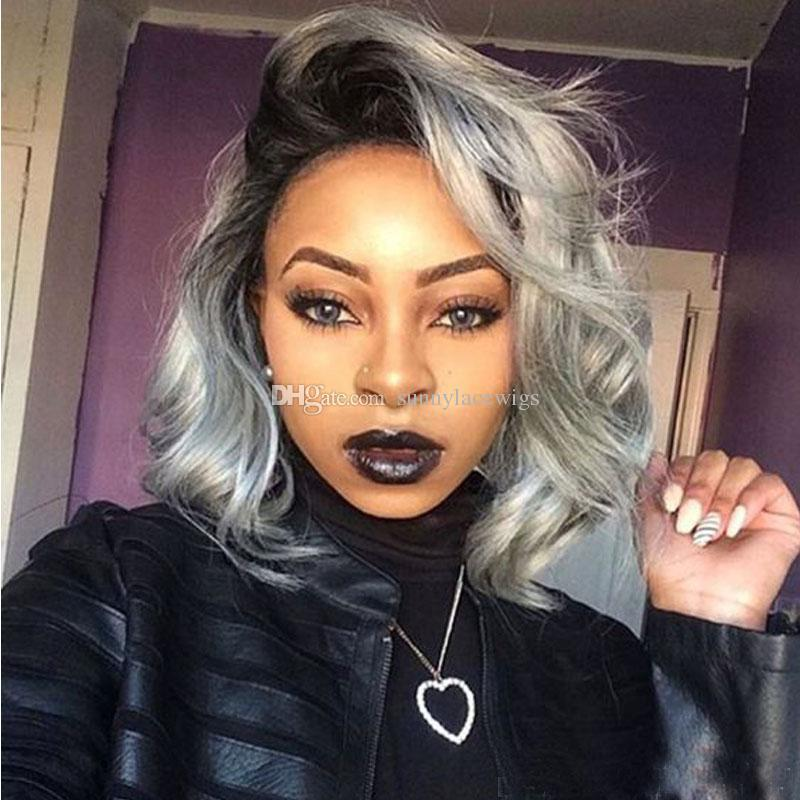 Ombre Grey Bob Wavy Lace Front Wig Side Part Human Hair