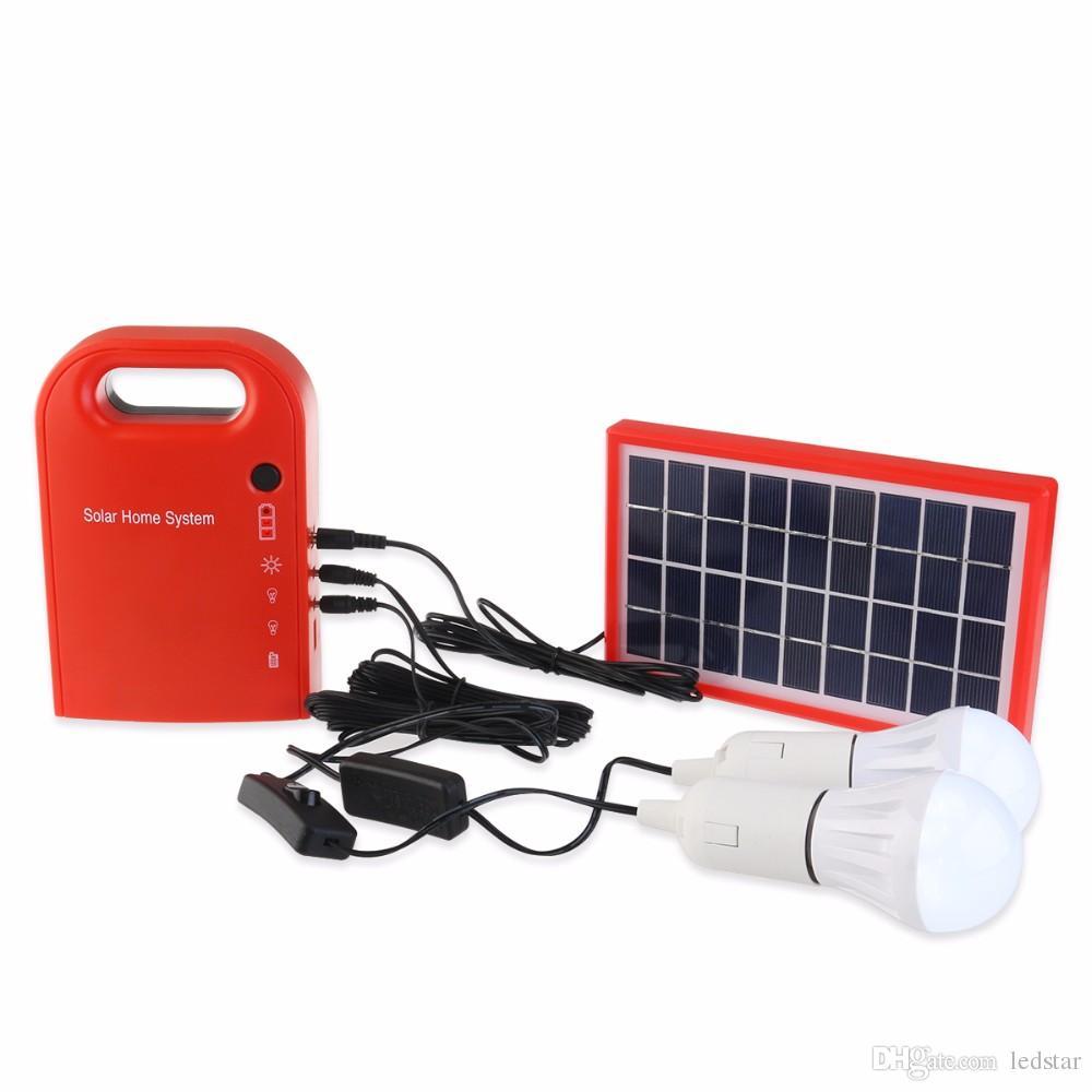 3W Mini sistema de energía solar portátil Sistema de energía solar Generador solar con 2 bombillas Batería de plomo ácido Luz para acampar al aire libre