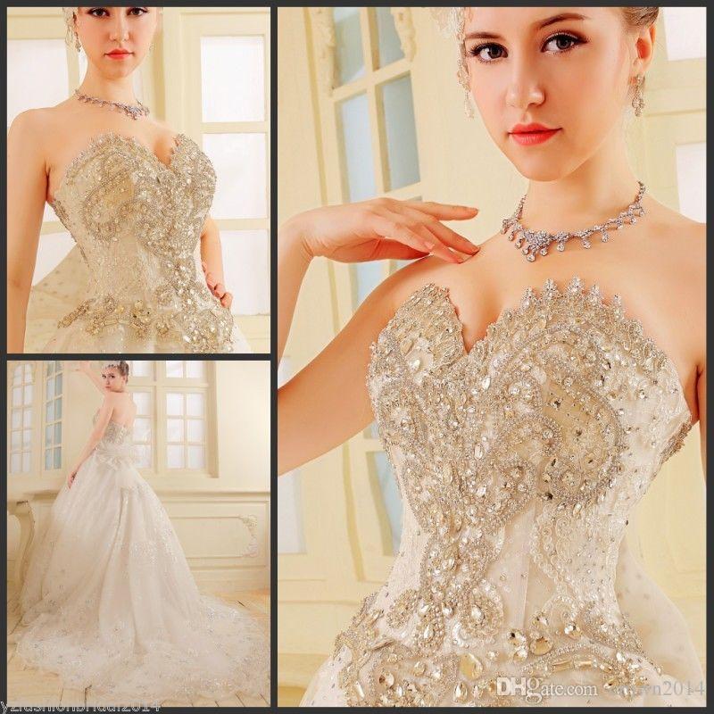 Sweetheart Luxury Wedding Dresses Real Photo With ...