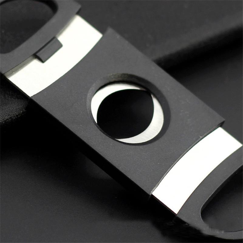 Cigar Scissors Pocket Plastic Stainless Steel Double Blades Cigar Cutter Knife Scissors Tobacco Black