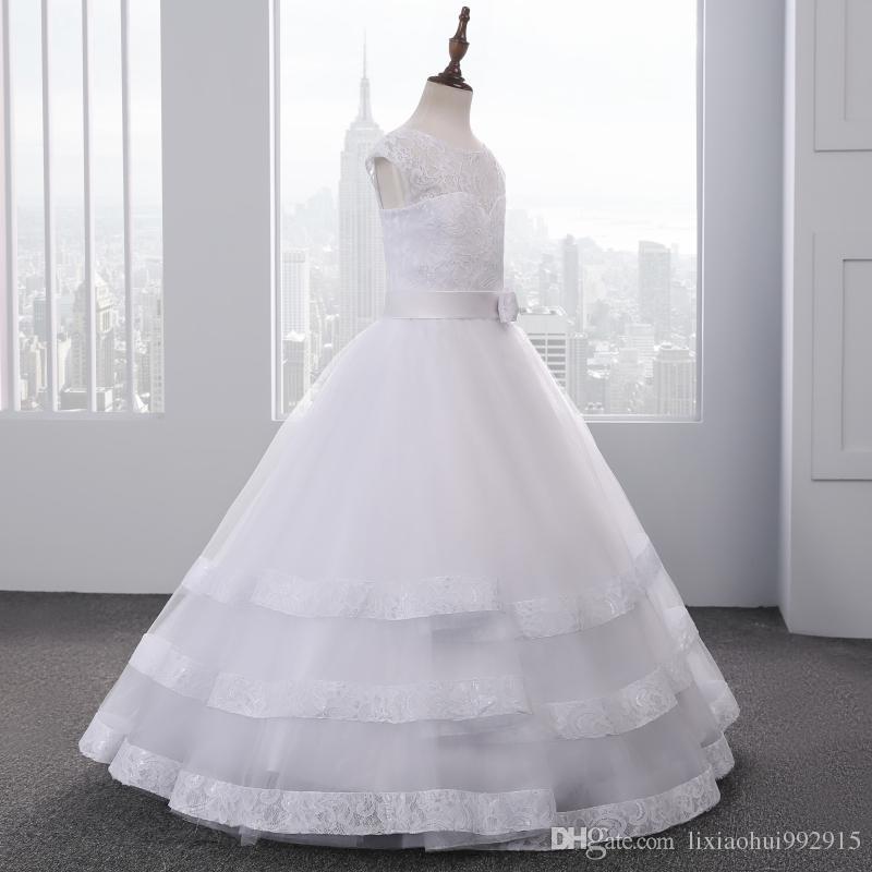 Svegli poco costosi Bianco Avorio abito di sfera fiori di pizzo ragazze Vestiti da matrimonio Santo Prima Comunione vestito da spettacolo Abiti con l'arco