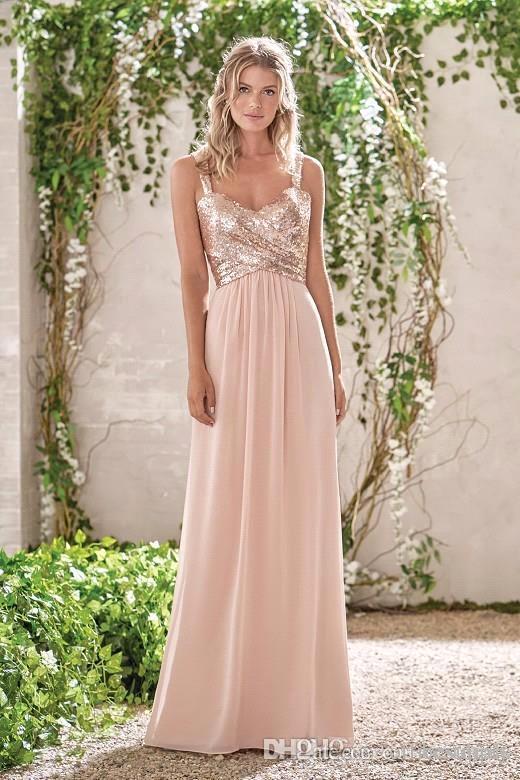 Розовое золото невесты платья линии спагетти Backless Блестки шифоновое Дешевые Long Beach Wedding Guest Bridesmaids платье горничной честь Gowns
