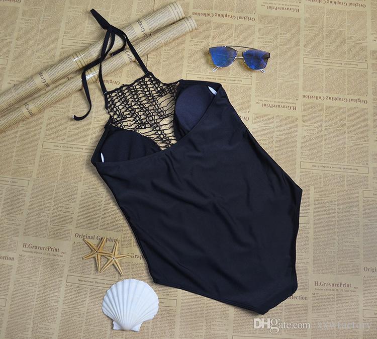 Women 2017 Sexy Beach One Piece Swimsuit Plus Size Swimwear Crochet Monokini Swimsuit Retro Bathing Suit Swim Wear