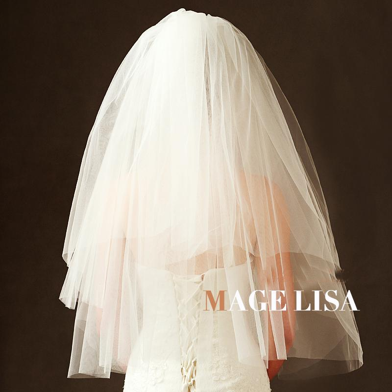 2019 Wedding Bridal Handmade Multiple layers Beaded Crescent edge Bridal Accessories Veil 1M Long White Color With Comb