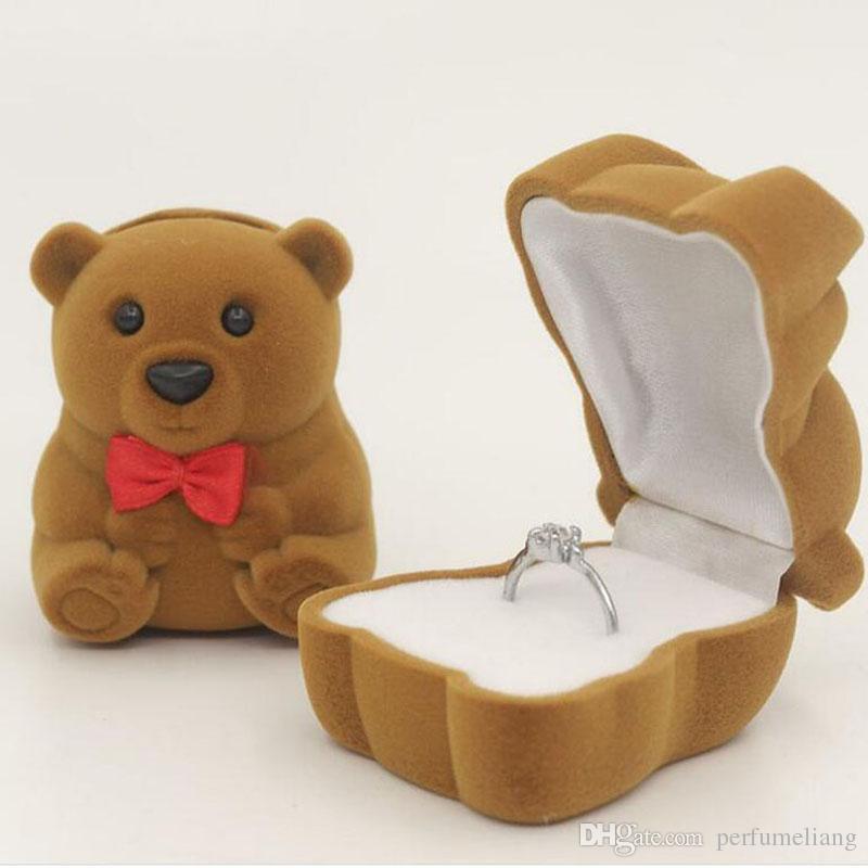 Fashion Velvet Bowknot Bear Ring Earring Bracelet Jewelry Display Box Case Storage Box Xmas Gift Wedding Prom Gift Boxes ZA3179