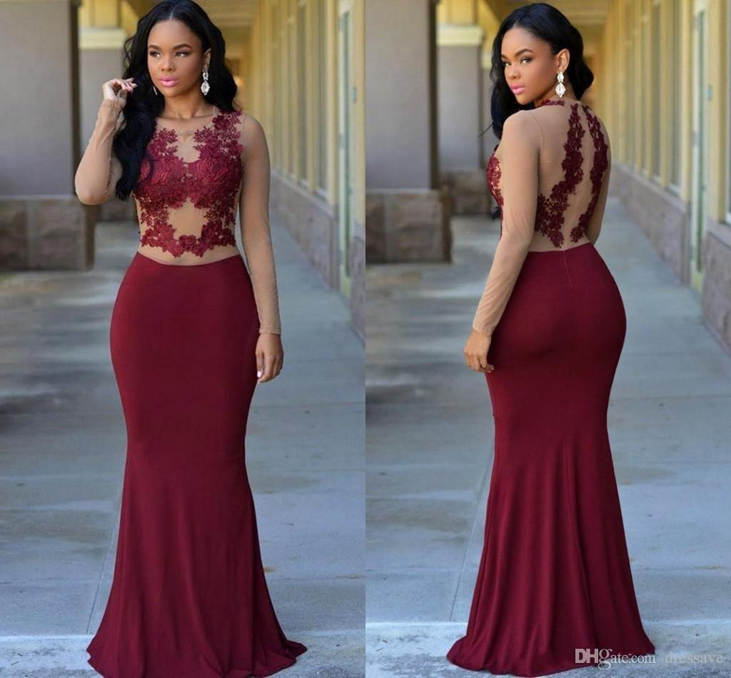 Custom Made Vintage Burgundy Mermaid Prom Dresses 2017 Crew Neck ...