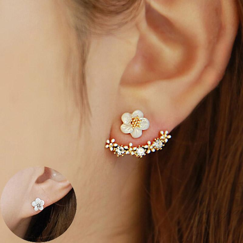 Flower Crystals Stud Earring for Women Rose Gold Color Double Sided Fashion  Jewelry Earrings Female Ear Brincos Pending Stud Earrings Earrings Womens  ... 638c4571b5