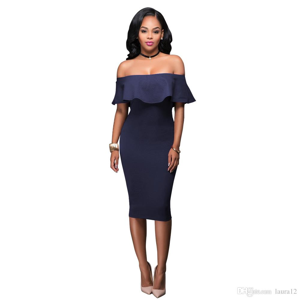 2017 Elegant Women Party Dress with Off Shoulder Ruffle Short Sleeves Sexy Women Night Out Dresses Real Sample
