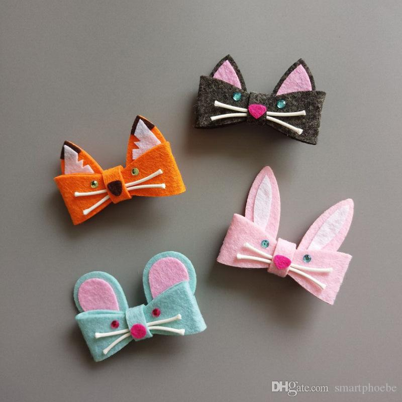 Boutique Fashion Glitter Felt Cute Fox Bunny Mouse Cat Baby Girls Hairpins Solid Kawaii Candy Color Cartoon Animal Hair Clips Headware